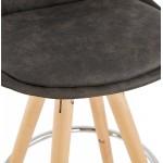 Tabouret de bar mi-hauteur scandinave en microfibre pieds bois couleur naturelle TALIA MINI (gris foncé)