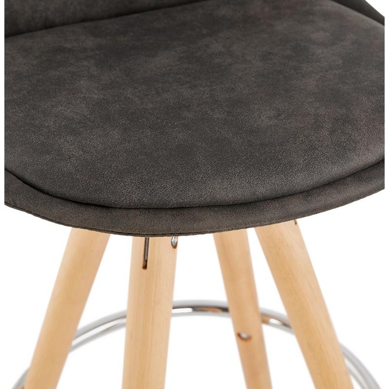 Tabouret de bar mi-hauteur scandinave en microfibre pieds bois couleur naturelle TALIA MINI (gris foncé) - image 45811