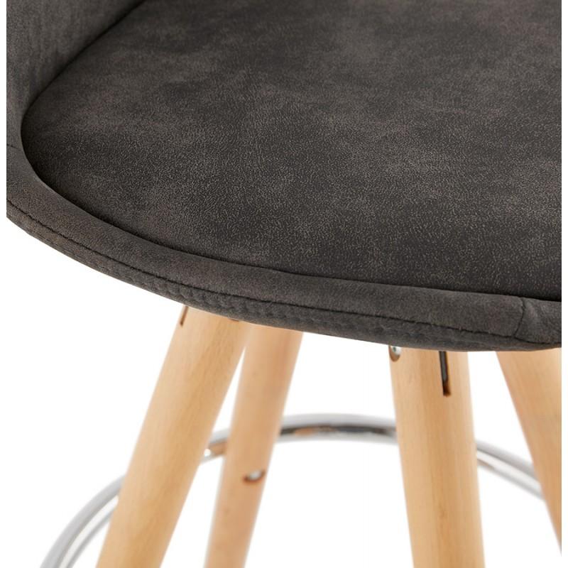 Tabouret de bar mi-hauteur scandinave en microfibre pieds bois couleur naturelle TALIA MINI (gris foncé) - image 45812