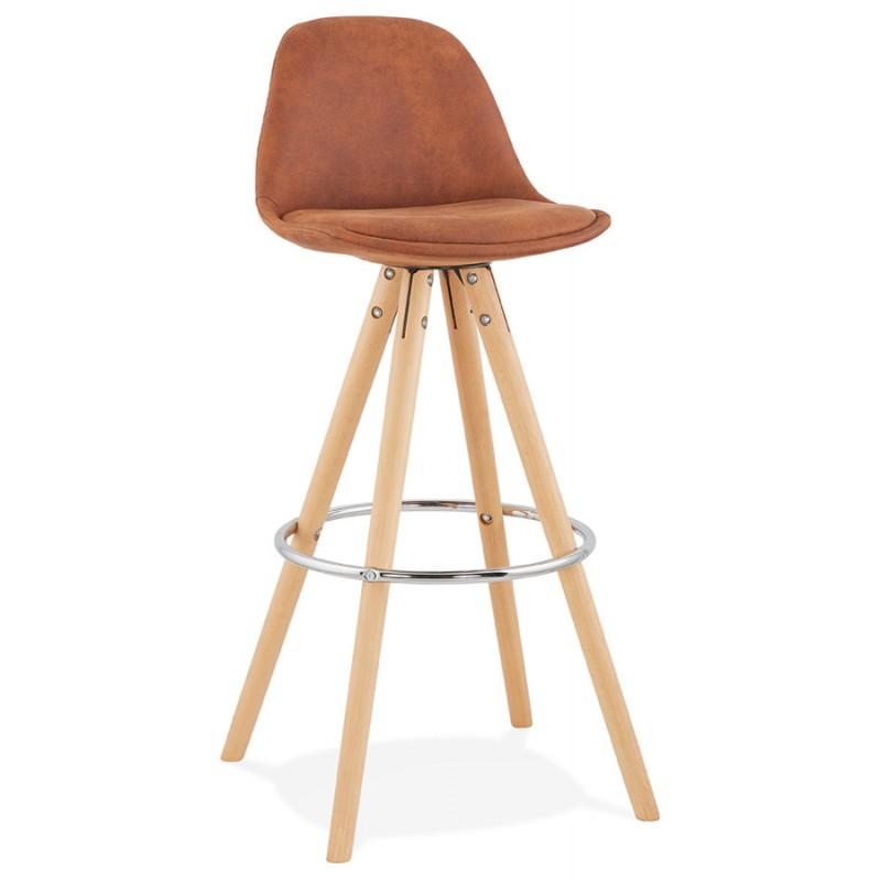 Scandinavian bar stool in microfiber feet wood natural color TALIA (brown) - image 45818