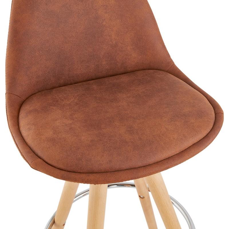Scandinavian bar stool in microfiber feet wood natural color TALIA (brown) - image 45823