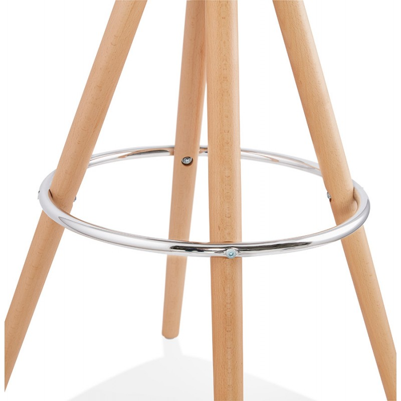 Tabouret de bar scandinave en microfibre pieds bois couleur naturelle TALIA (marron) - image 45827