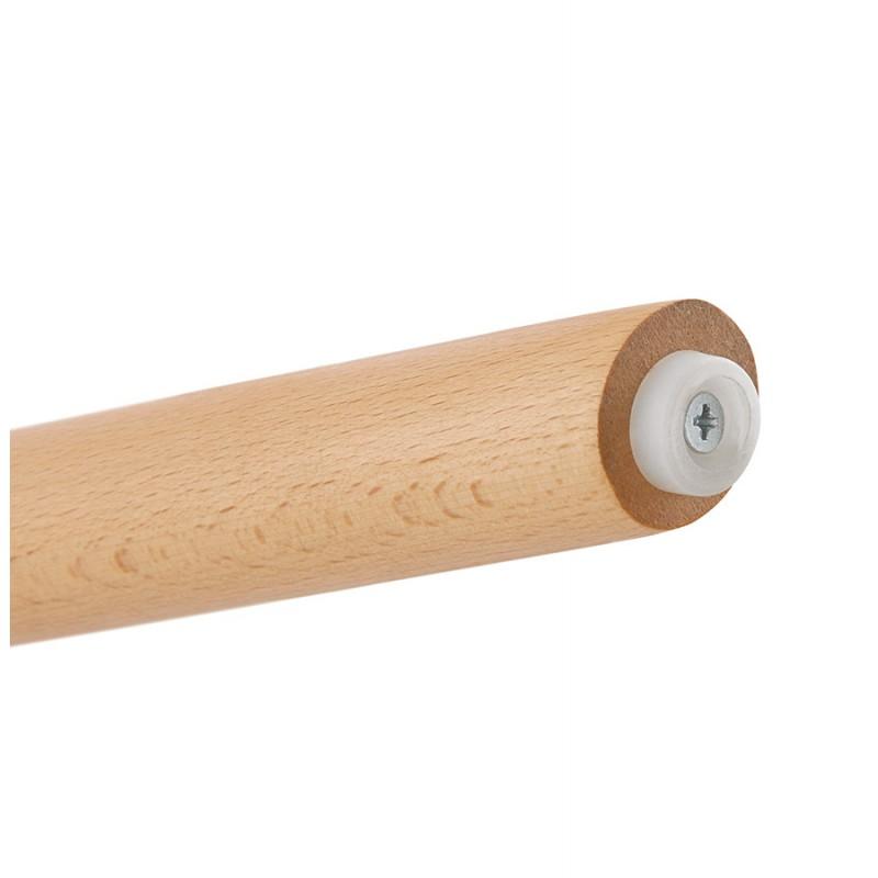 Scandinavian bar stool in microfiber feet wood natural color TALIA (brown) - image 45830
