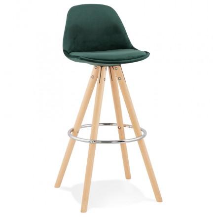 Tabouret de bar scandinave en velours pieds bois couleur naturelle MERRY (vert)