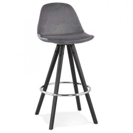 Mid-height bar set design in velvet black wooden feet MERRY MINI (grey)