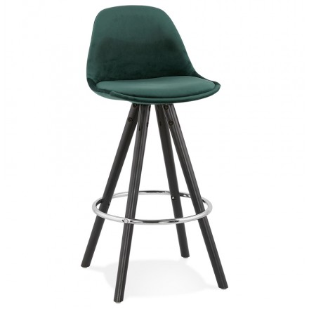 Tabouret de bar mi-hauteur design en velours pieds bois noir MERRY MINI (vert)