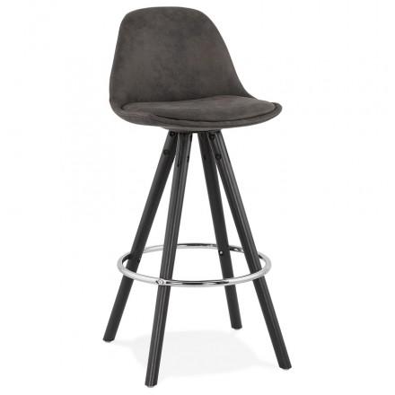 Almohadilla de barra vintage de altura media en patas de madera negra de microfibra TALIA MINI (gris oscuro)