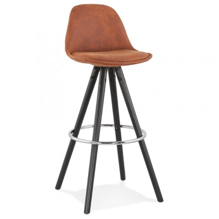 Vintage bar stool in microfiber feet black wood TALIA (brown)