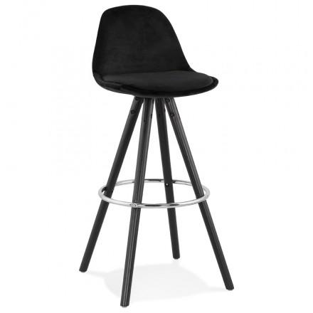 Tabouret de bar design en velours pieds bois noir MERRY (noir)
