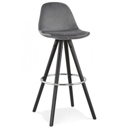 Bar set design in velvet black wooden feet MERRY (grey)