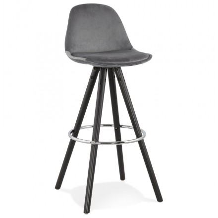 Tabouret de bar design en velours pieds bois noir MERRY (gris)