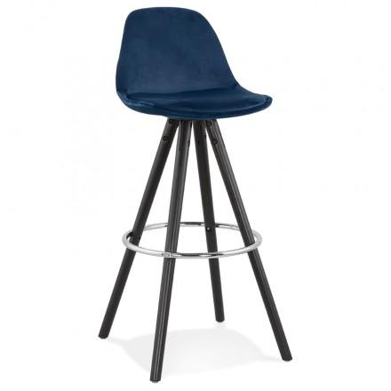 Design del set bar in velluto nero piedi in legno MERRY (blu)
