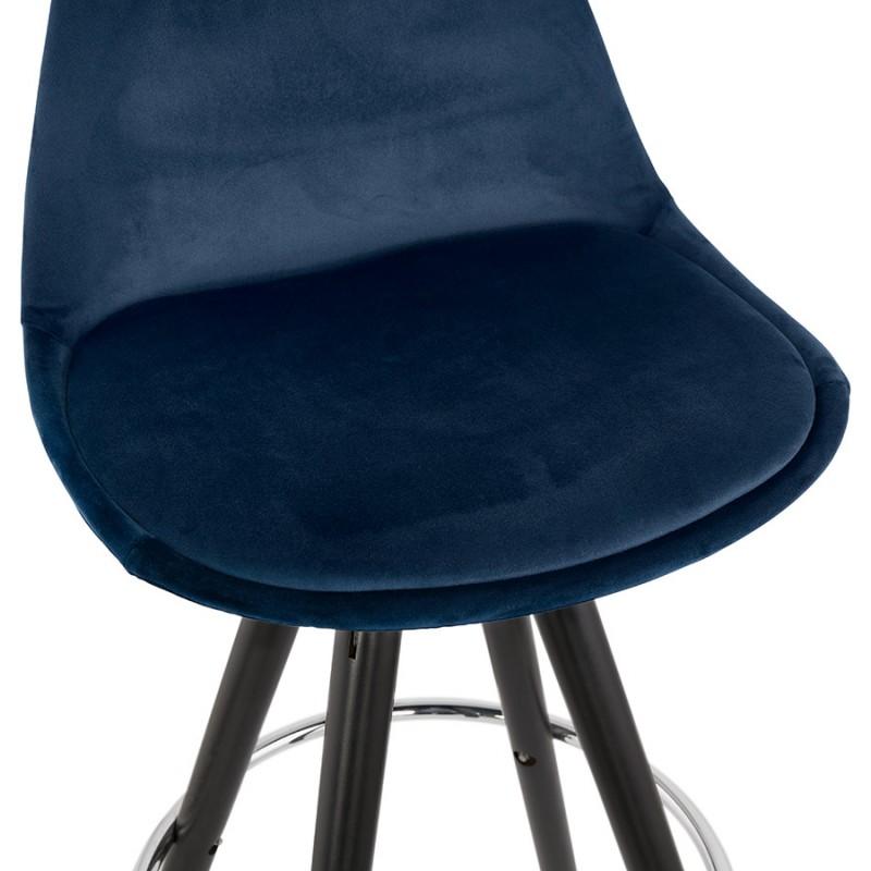 Tabouret de bar design en velours pieds bois noir MERRY (bleu) - image 46011