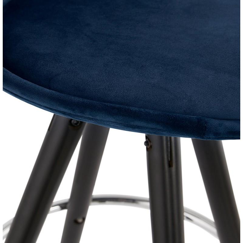 Tabouret de bar design en velours pieds bois noir MERRY (bleu) - image 46013
