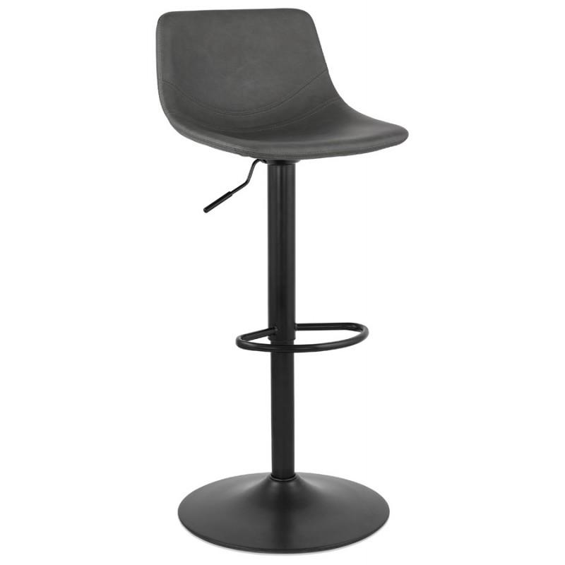 Tabouret de bar vintage rotatif et réglable pieds noirs MAX (gris foncé) - image 46080