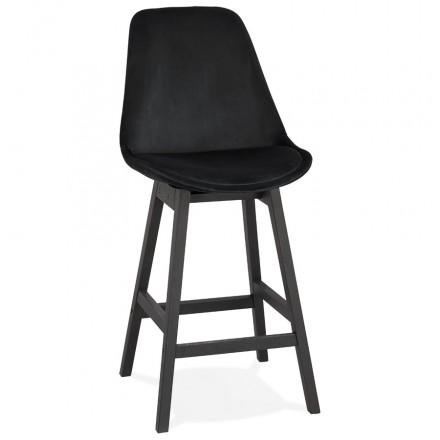 Design del set bar a mezza altezza in velluto piedi neri CAMY MINI (nero)
