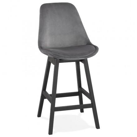 Mid-height bar set design in velvet black feet CAMY MINI (grey)