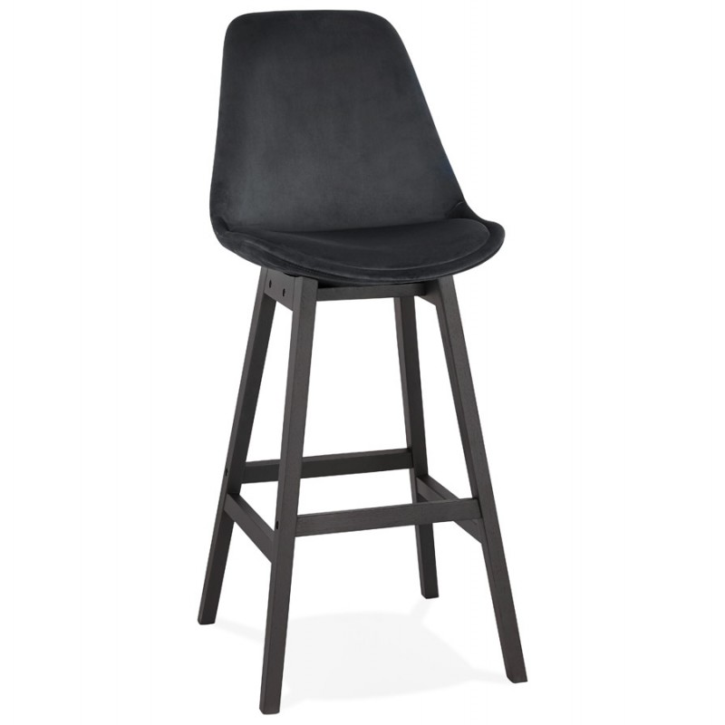 Tabouret de bar design en velours pieds noirs CAMY (noir) - image 46124