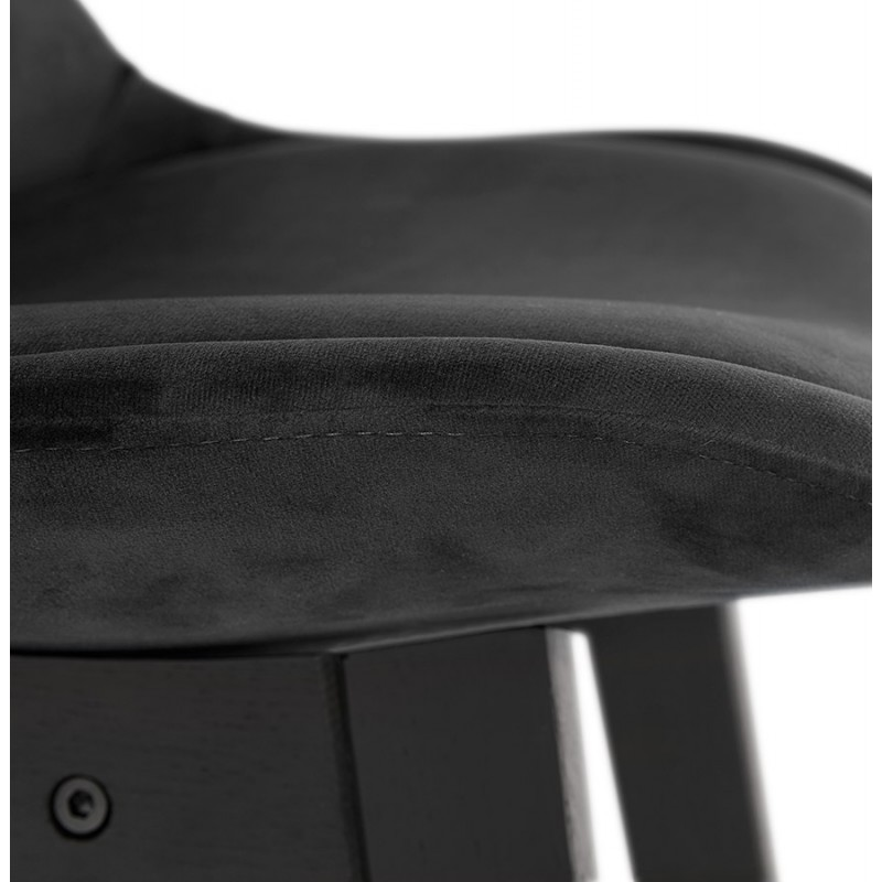 Tabouret de bar design en velours pieds noirs CAMY (noir) - image 46127