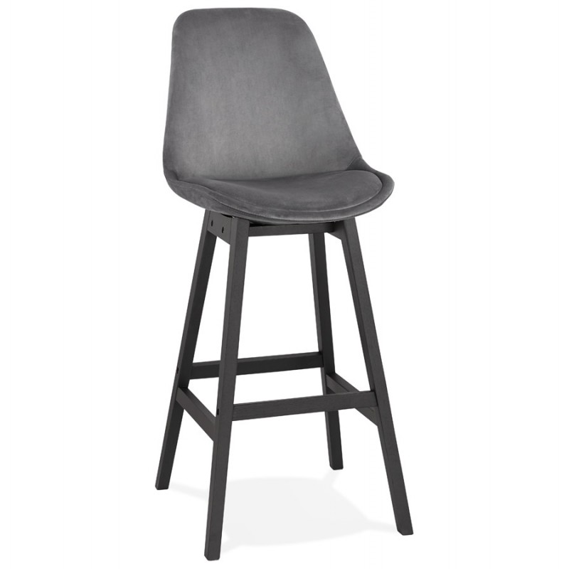Tabouret de bar design en velours pieds noirs CAMY (gris)