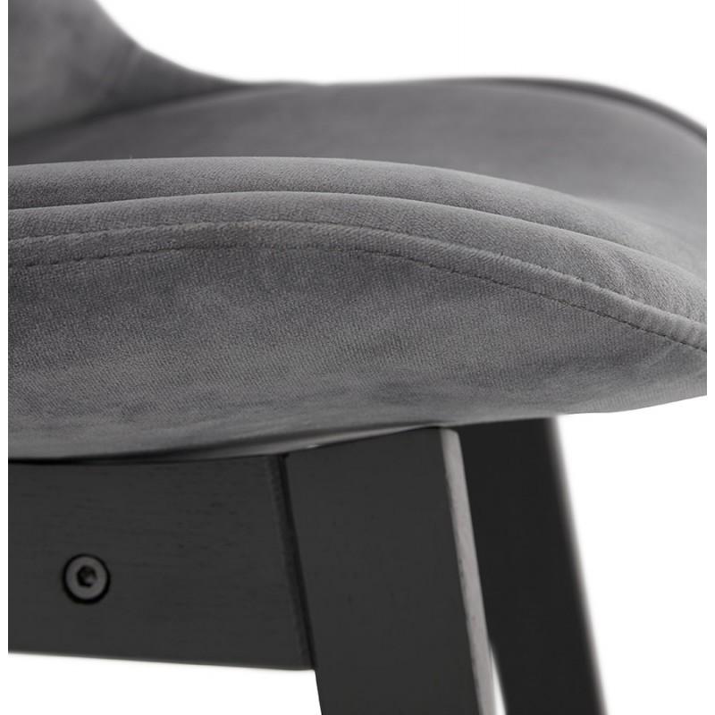 Tabouret de bar design en velours pieds noirs CAMY (gris) - image 46132
