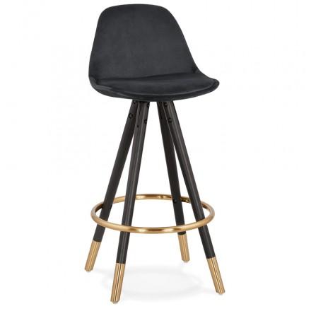 Tabouret de bar mi-hauteur design en velours pieds noirs et dorés NEKO MINI (noir)