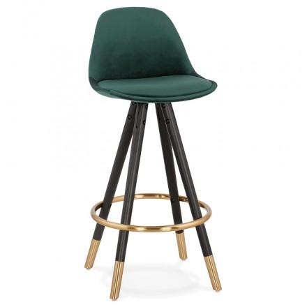 Tabouret de bar mi-hauteur design en velours pieds noirs et dorés NEKO MINI (vert)