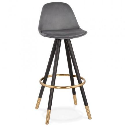 NEKO (grey) velvet designed bar set in black and gold feet