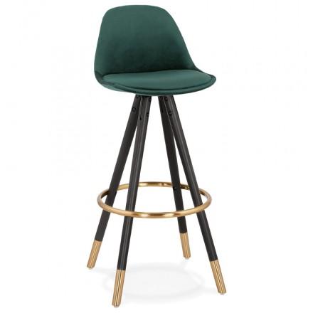 Tabouret de bar design en velours pieds noirs et dorés NEKO (vert)