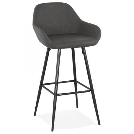 Tabouret de bar design chaise de bar pieds noirs NARNIA (gris foncé)