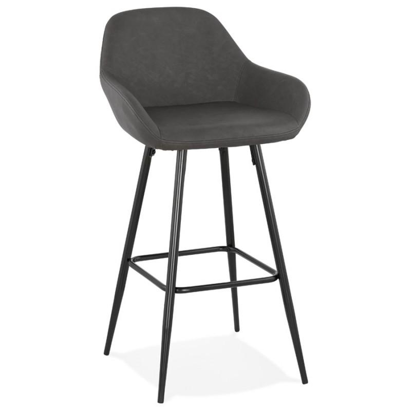 Tabouret de bar design chaise de bar pieds noirs NARNIA (gris foncé) - image 46210