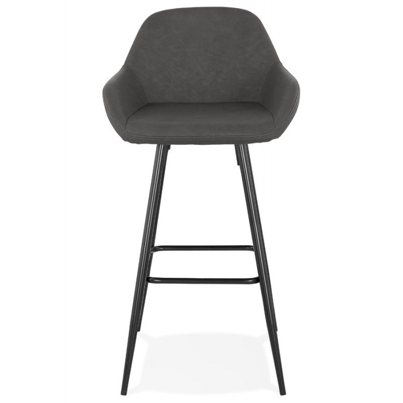 Tabouret de bar design chaise de bar pieds noirs NARNIA (gris foncé) - image 46211