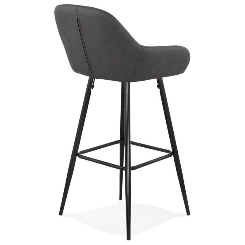 Tabouret de bar design chaise de bar pieds noirs NARNIA (gris foncé) - image 46213