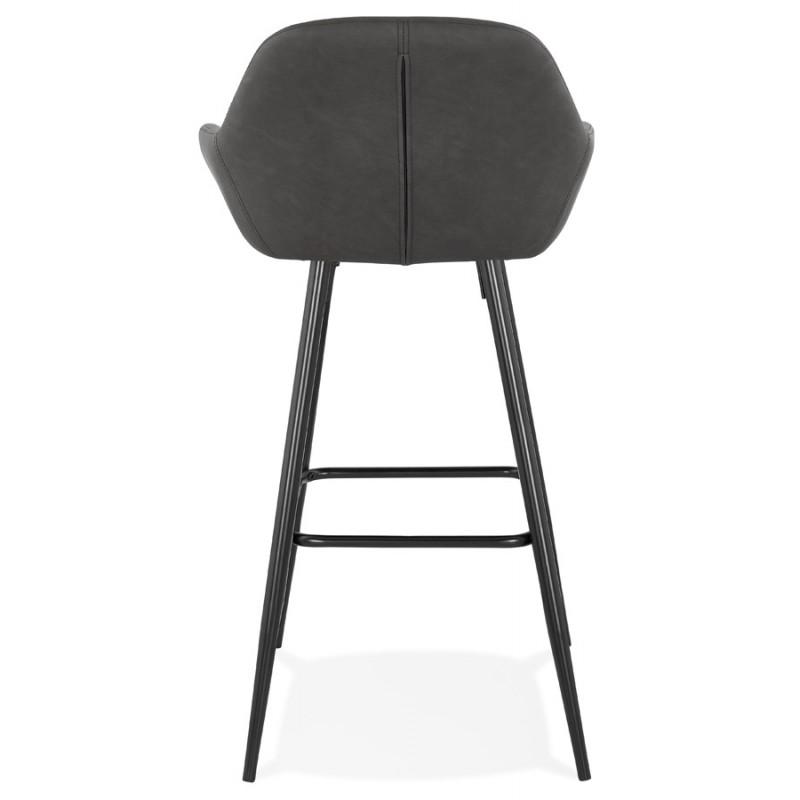 Tabouret de bar design chaise de bar pieds noirs NARNIA (gris foncé) - image 46214