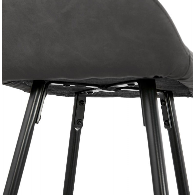 Tabouret de bar design chaise de bar pieds noirs NARNIA (gris foncé) - image 46219
