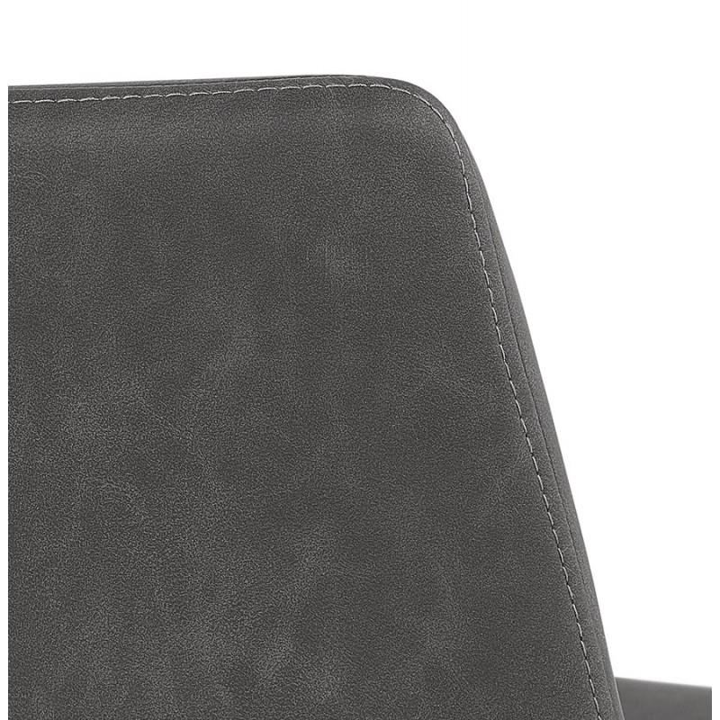 Tabouret de bar mi-hauteur vintage pieds noirs JOE MINI (gris foncé) - image 46242