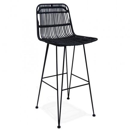 Tabouret de bar chaise de bar en rotin pieds noirs PRETTY (noir)