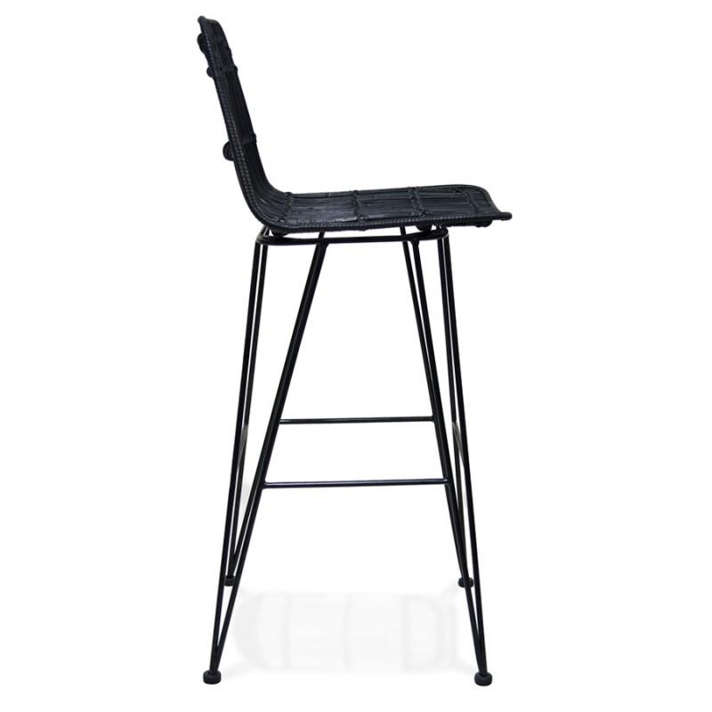 Tabouret de bar chaise de bar en rotin pieds noirs PRETTY (noir) - image 46255