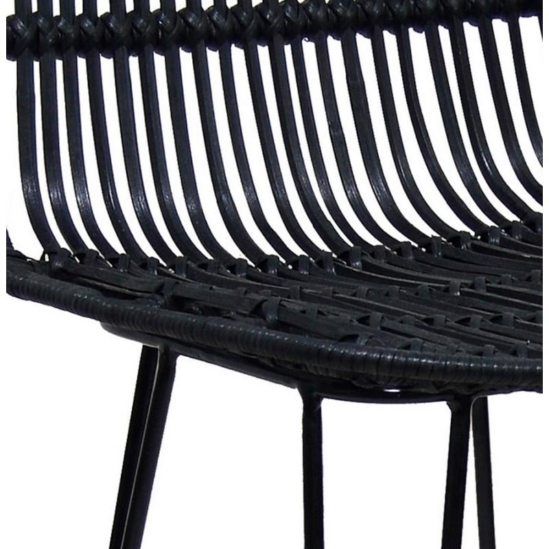 Tabouret de bar chaise de bar en rotin pieds noirs PRETTY (noir) - image 46256