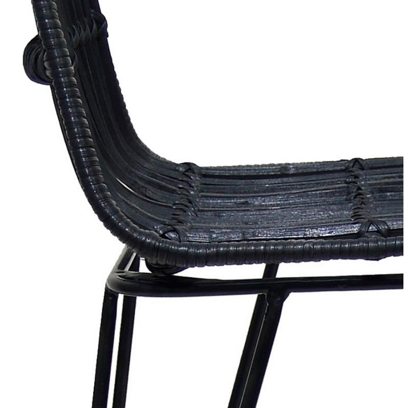Tabouret de bar chaise de bar en rotin pieds noirs PRETTY (noir) - image 46258