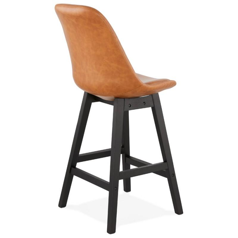 Tabouret de bar chaise de bar mi-hauteur design pieds noirs DAIVY MINI (marron clair) - image 46277