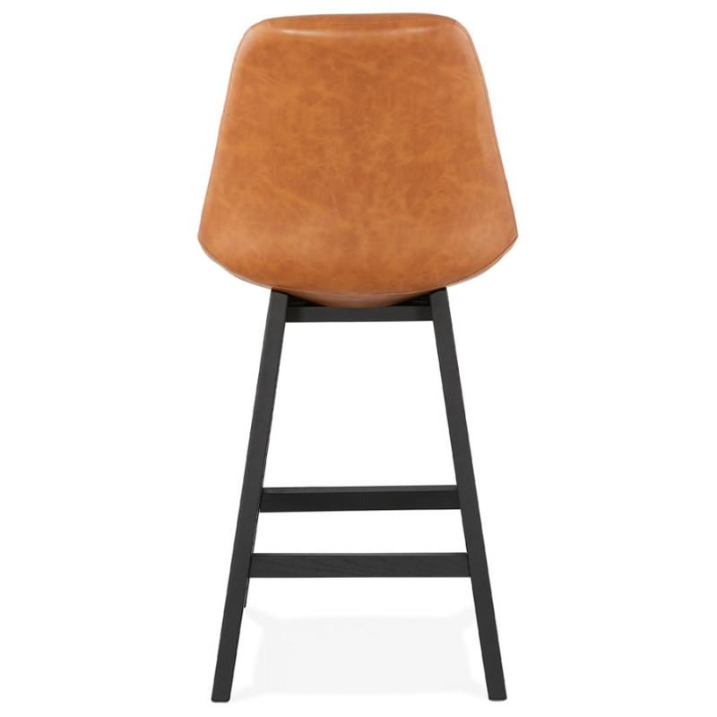 Tabouret de bar chaise de bar mi-hauteur design pieds noirs DAIVY MINI (marron clair) - image 46278