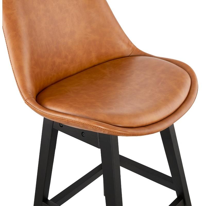 Tabouret de bar chaise de bar mi-hauteur design pieds noirs DAIVY MINI (marron clair) - image 46279