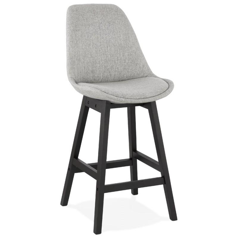 Tabouret de bar chaise de bar mi-hauteur design pieds noirs ILDA MINI (gris clair)