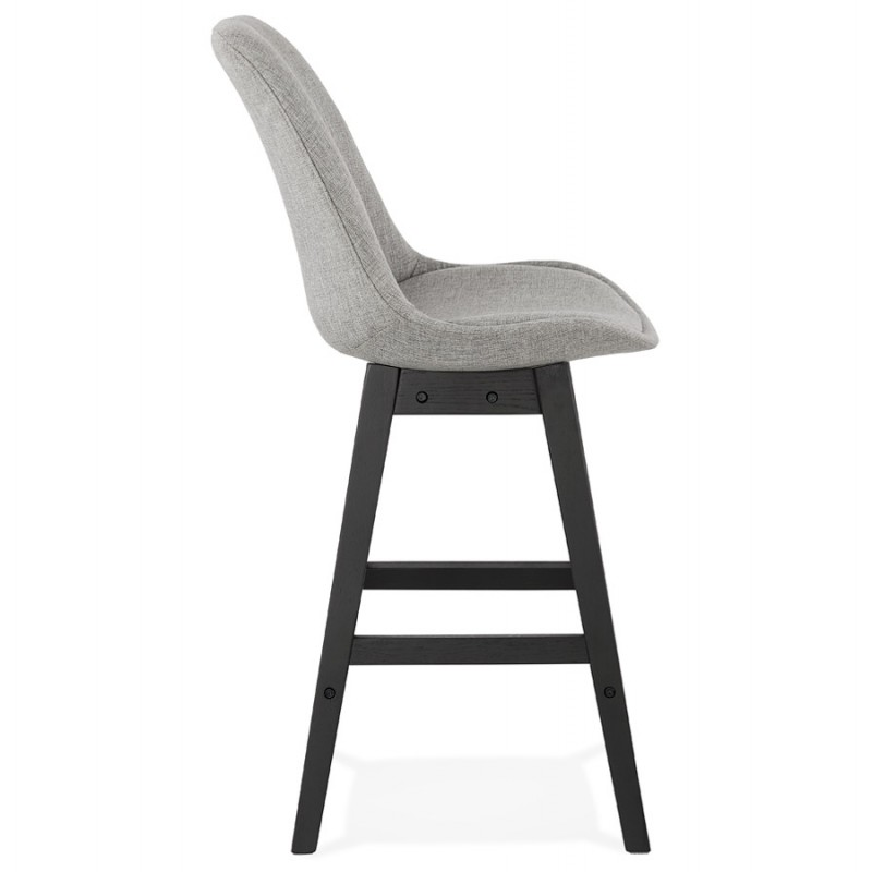 Tabouret de bar chaise de bar mi-hauteur design pieds noirs ILDA MINI (gris clair) - image 46287