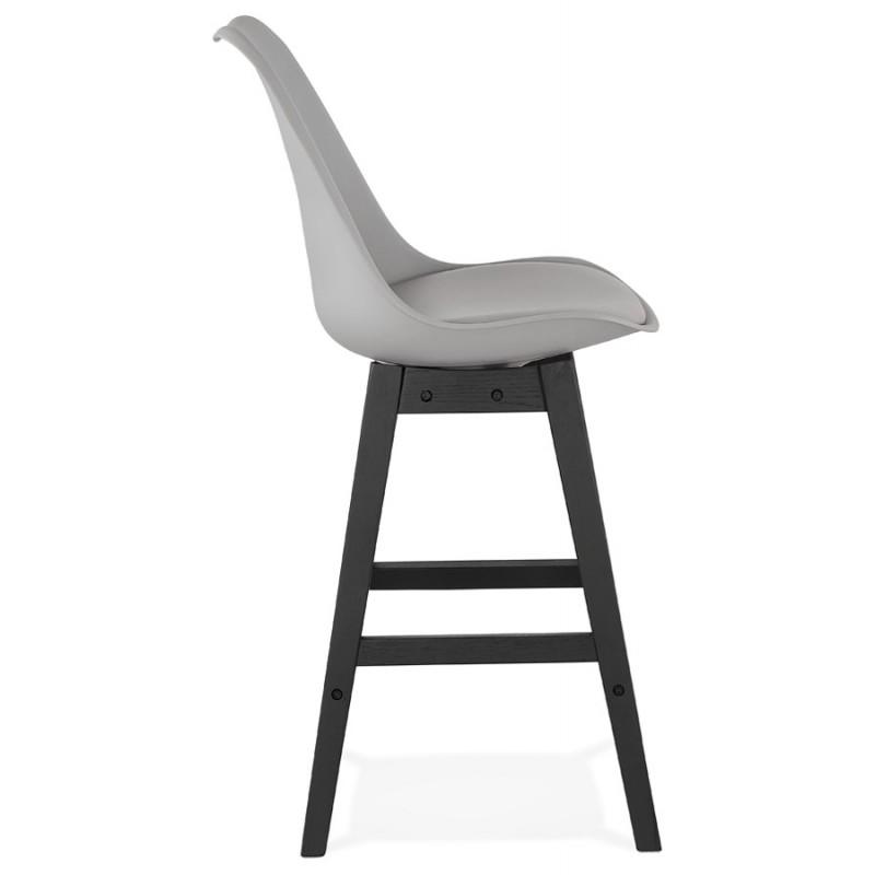 Tabouret de bar chaise de bar mi-hauteur design pieds noirs DYLAN MINI (gris clair) - image 46297
