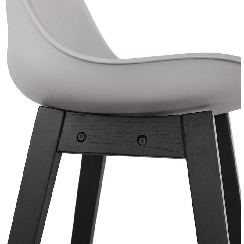 Tabouret de bar chaise de bar mi-hauteur design pieds noirs DYLAN MINI (gris clair) - image 46302