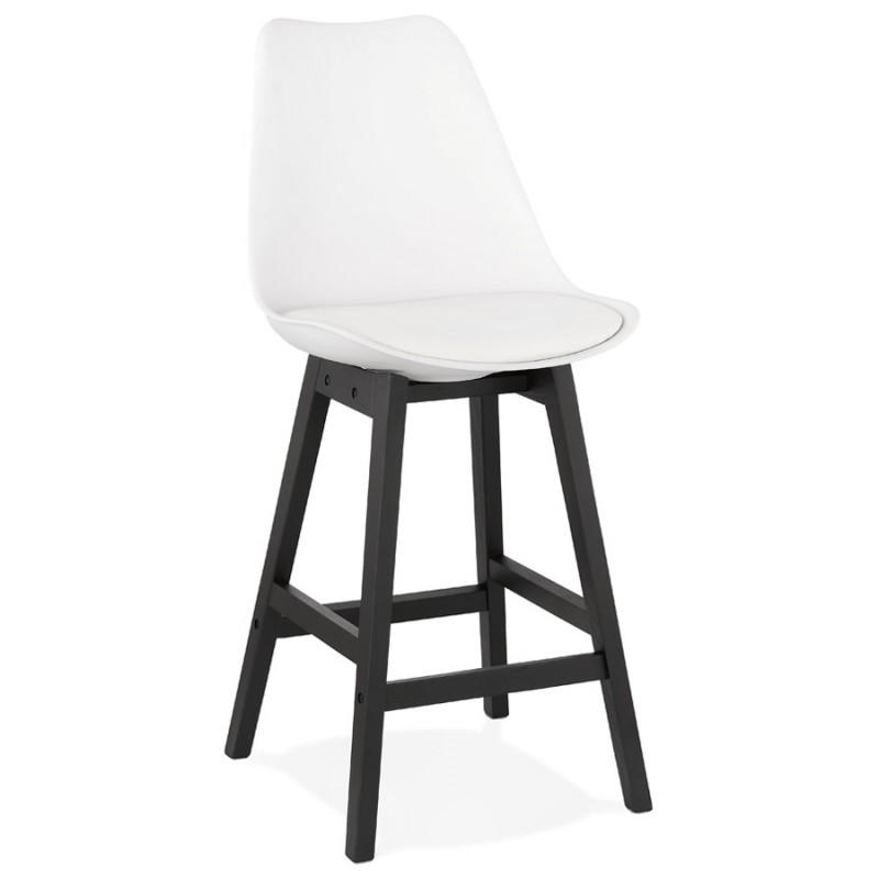 Tabouret de bar chaise de bar mi-hauteur design pieds noirs DYLAN MINI (blanc) - image 46305