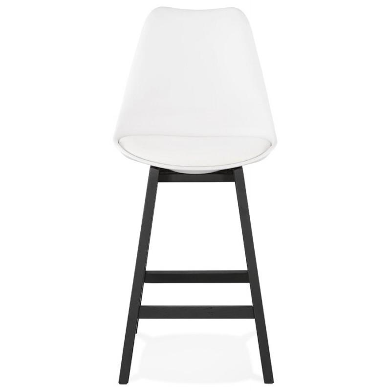Tabouret de bar chaise de bar mi-hauteur design pieds noirs DYLAN MINI (blanc) - image 46306