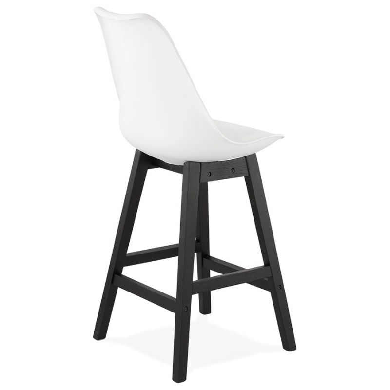 Tabouret de bar chaise de bar mi-hauteur design pieds noirs DYLAN MINI (blanc) - image 46308